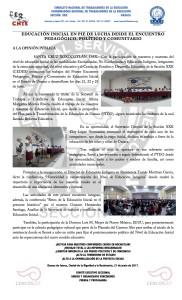 Boletín - EDUCACIÓN INICIAL EN PIE DE LUCHA DESDE EL ENCUENTRO PEDAGÓGICO, POLÍTICO Y COMUNITARIO - 21 JUNIO 2017