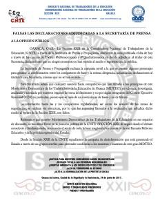 Boletín - FALSAS LAS DECLARACIONES ADJUDICADAS A LA SECRETARÍA DE PRENSA - 24 JUNIO 2017