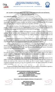 Boletín- EN ALERTA MAXIMA SECCION 22- 22 agosto 2017