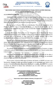 Boletín- SECCIÓN XXII EXIGE RESPUESTAS PARA EDUCACIÓN INICIAL ANTE OÍDOS SORDOS DEL ESTADO- 24 agosto 2017