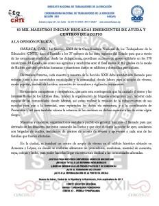 Boletin - 83 MIL MAESTROS INICIAN BRIGADAS EMERGENTES DE AYUDA Y CENTRO DE ACOPIO - 8 septiembre 2017