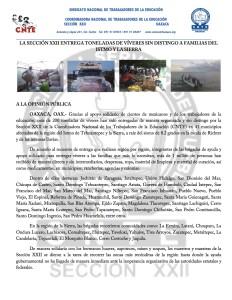 Boletin -LA SECCIÓN XXII ENTREGA TONELADAS DE VÍVERES SIN DISTINGO A FAMILIAS DEL ISTMO Y LA SIERRA - 18 septiembre 2017(1:2)