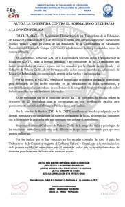 Boletín - ALTO A LA EMBESTIDA CONTRA EL NORMALISMO DE CHIAPAS- 1 noviembre 2017