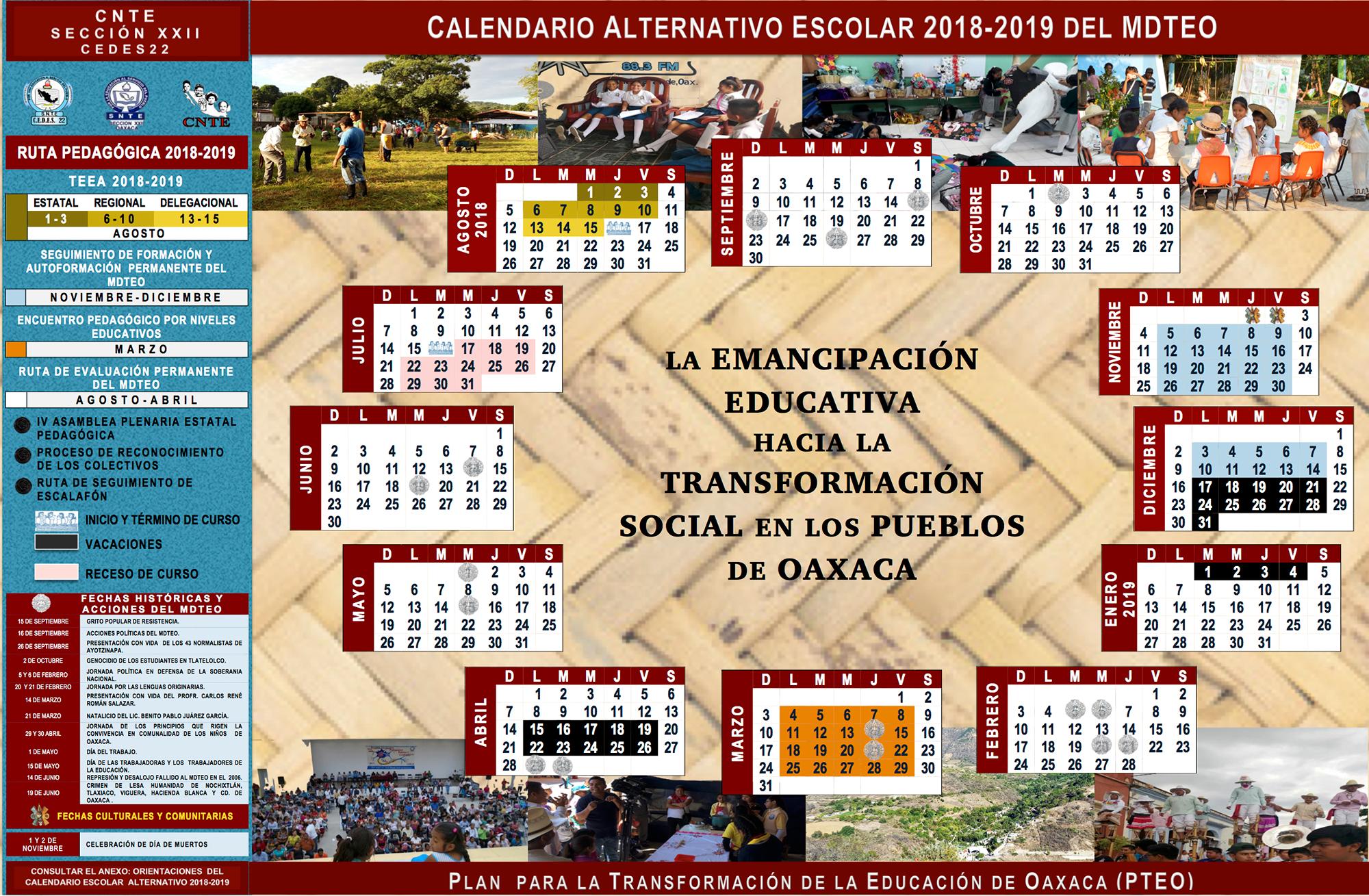 Calendario 2919 Para Imprimir.Calendario Alternativo Escolar 2018 2019 Del Mdteo Centro