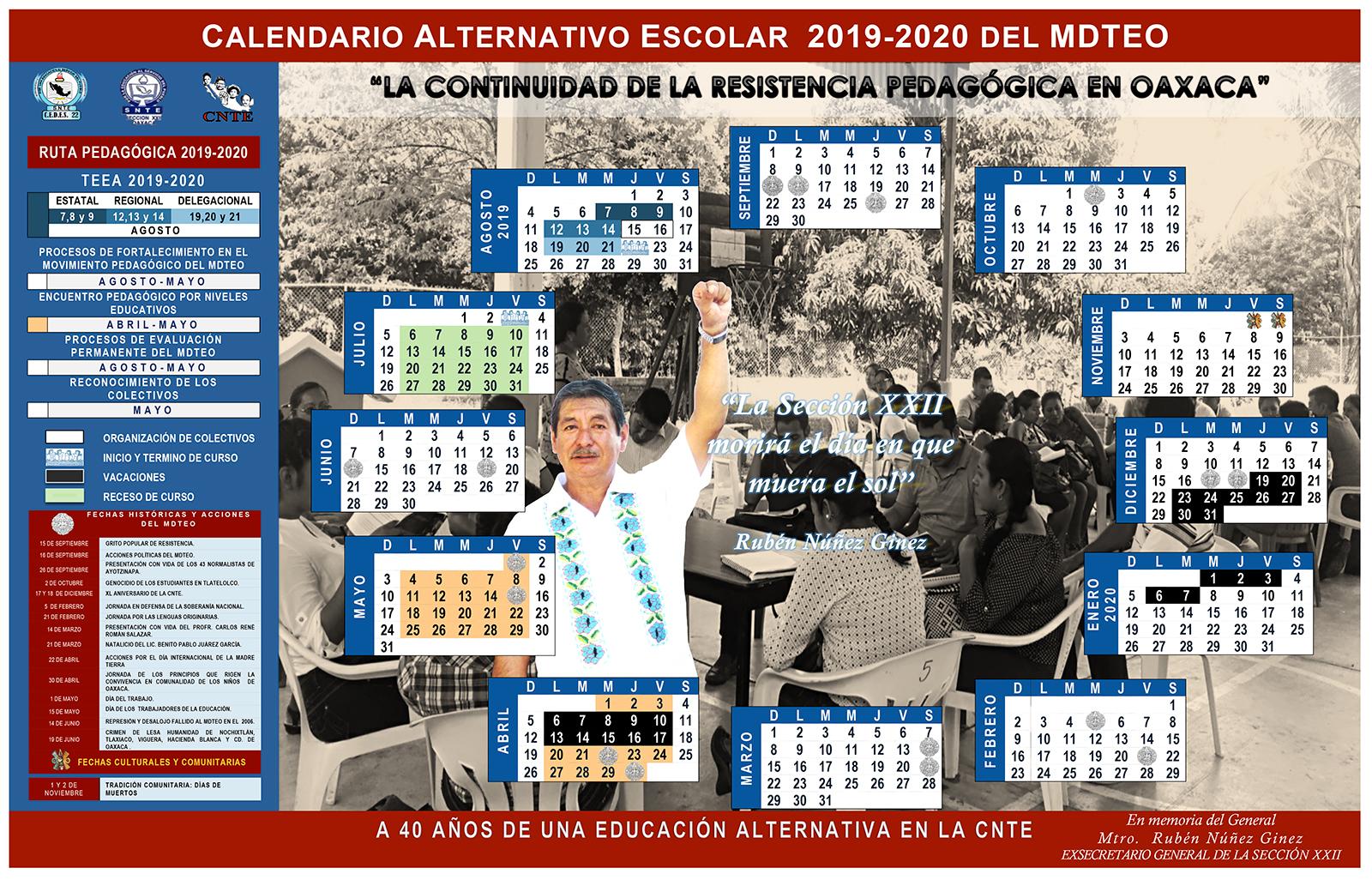 Calendario Escolar 2020 Sep Cdmx.Calendario Alternativo Escolar 2019 2020 Del Mdteo