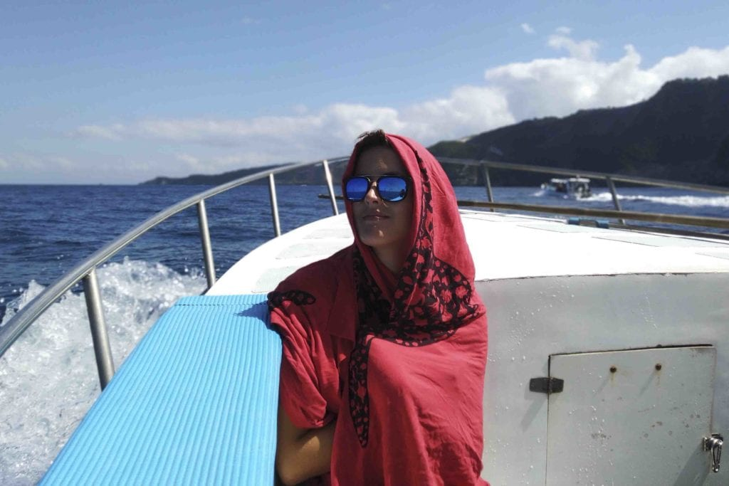 We provide alternative sun protection in the form of sarongs on our boat, to cover up.