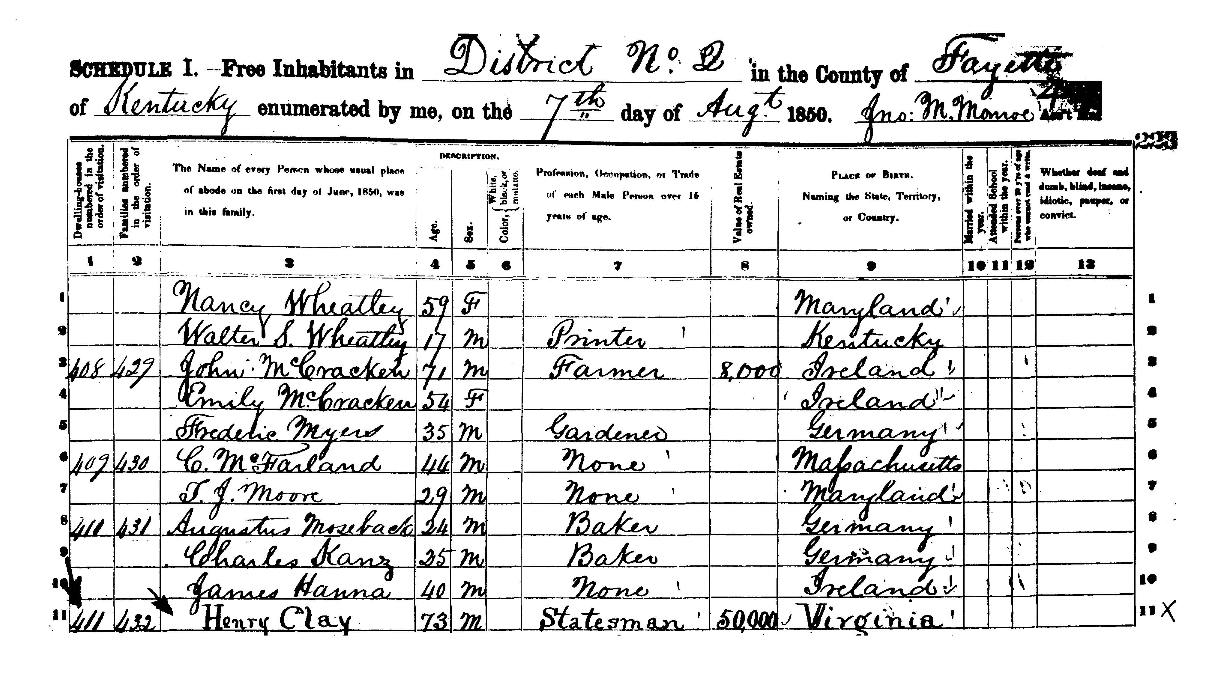 Census Questionnaire With Henry Clay S Enumeration