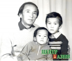 Husband Vyacheslav Salchak with sons Valentin and Aldar, 1985.