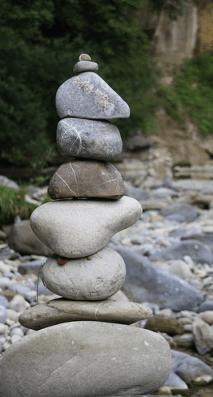 balanced stones cairn
