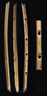 Prehistoric people made musical instruments out of bone and ivory soon after reaching Europe
