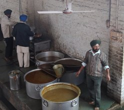 Sikh temple kitchen - all the dal you can eat!