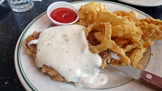 Chicken Fried Steak and Onion Rings