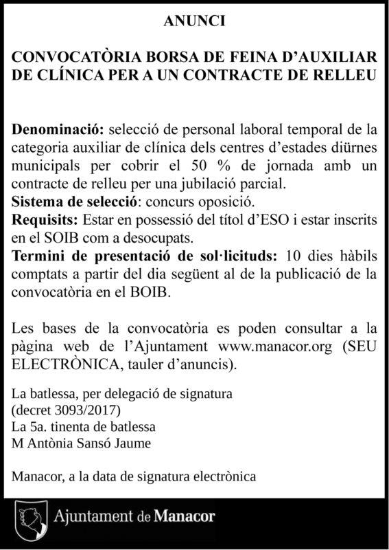 L'Ajuntament Cerca Un Auxiliar De Clínica