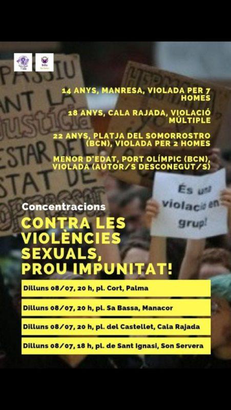 El Moviment Feminista De Mallorca Convoca Una Concentració Avui A Les 20h A Sa Bassa Per Les Violacions Múltiples De Cala Rajada I Manresa