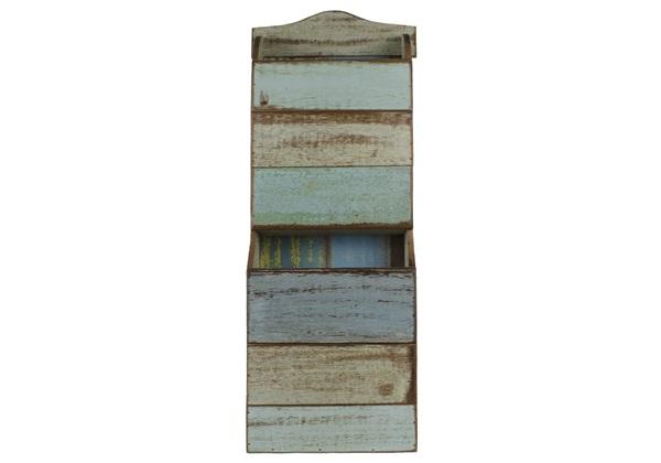 rustic beach handmade reclaimed wall mounted magazine rack antique pastel