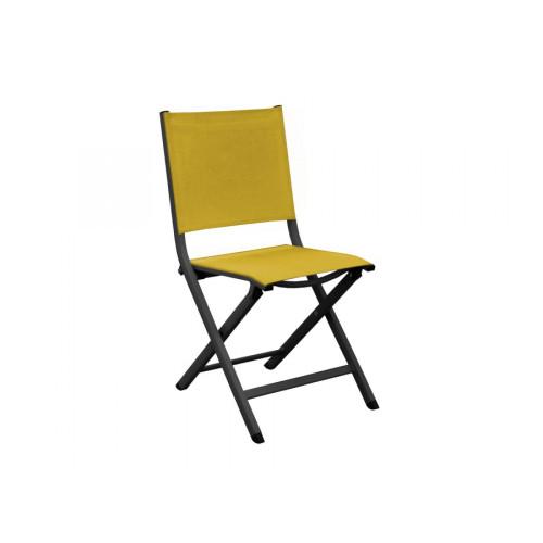 proloisirs lot de 6 chaises pliantes thema graphite moutarde