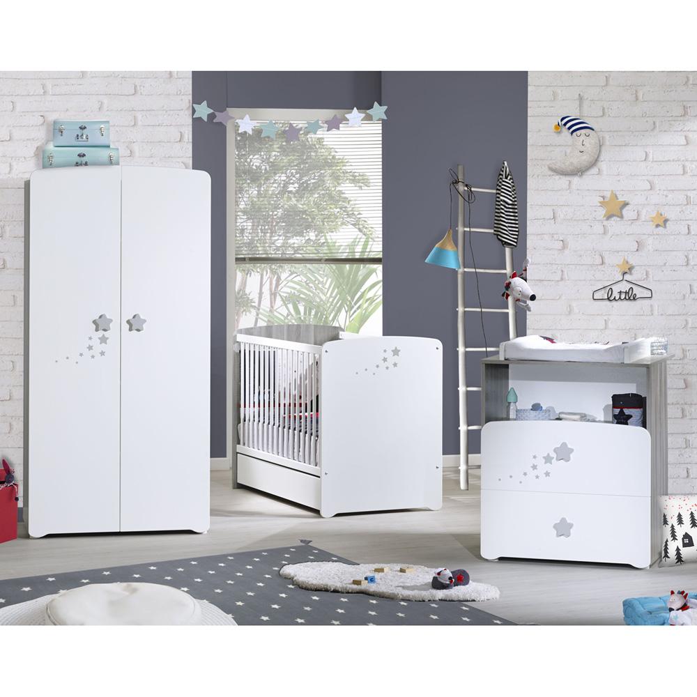 chambre bebe trio nao lit 60x120cm commode armoire
