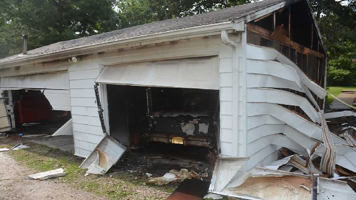 Garage fire in Normal, IL