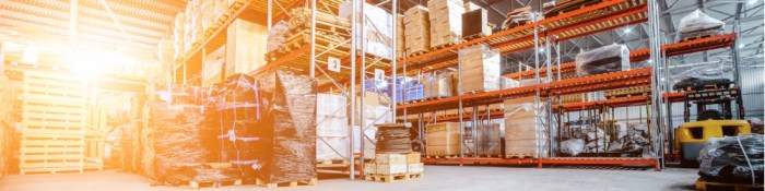 Warehouse filled racking and storage containters
