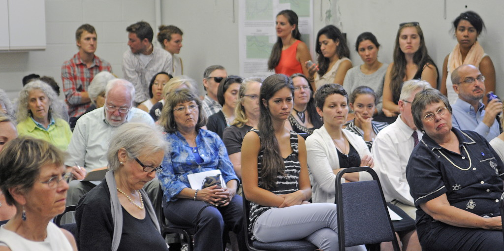 AUGUSTA, ME - JULY 29: People listen to testimony Tuesday July 29, 2014 at hearing at the Department of Environmental Protection in Augusta on a citizen initiated proposal to list priority chemicals. (Photo by Andy Molloy/Staff Photographer)