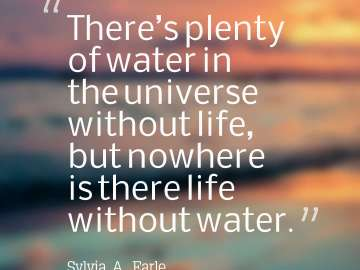 There's plenty of water in the universe without life, but nowhere is there life without water.