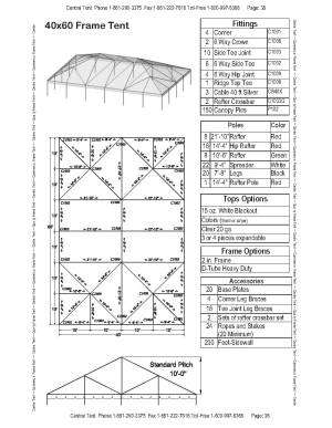 40x60 Complete Frame Tent  Central Tent