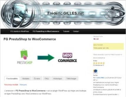 Site de Frédéric Gilles auteur du plugin FG Prestashop to WooCommerce