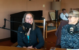 Professors Sara Egge and Lori Hartmann-Mahmud sit in on an episode of the Centre Point Podcast with Bill Goodman on November 22, 2016