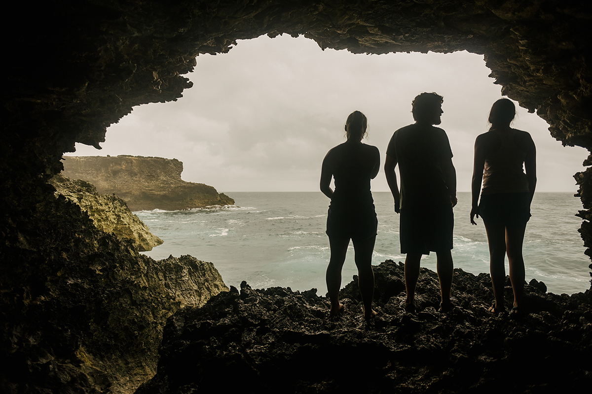 Students explored the animal flower cave in Barbados