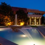 Norton Center fountain at twilight