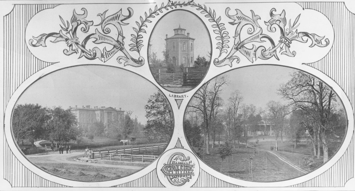 vintage photo collage of Centre's campus from the 1800s