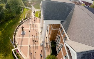 aerial view of students walking outside Crounse Hall