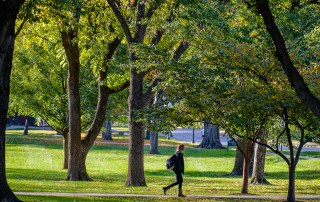 Student walking on campus in fall