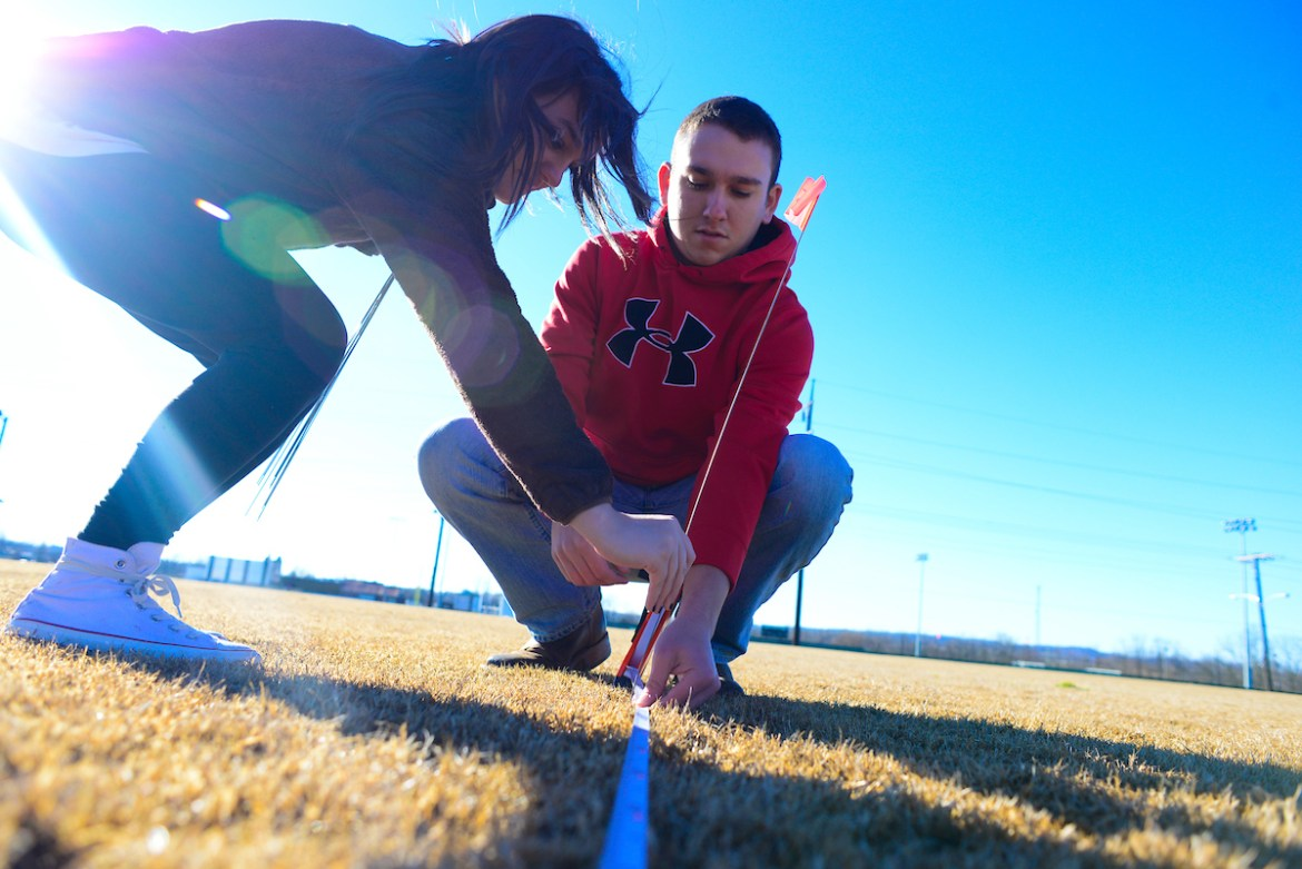 Professor Cutright's course work on the football field to recreate the Nasca lines during CentreTerm.