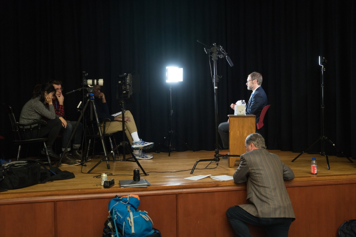 Students interview Bob Nesmith as part of the Documentary filmmaking course during CentreTerm 2018.