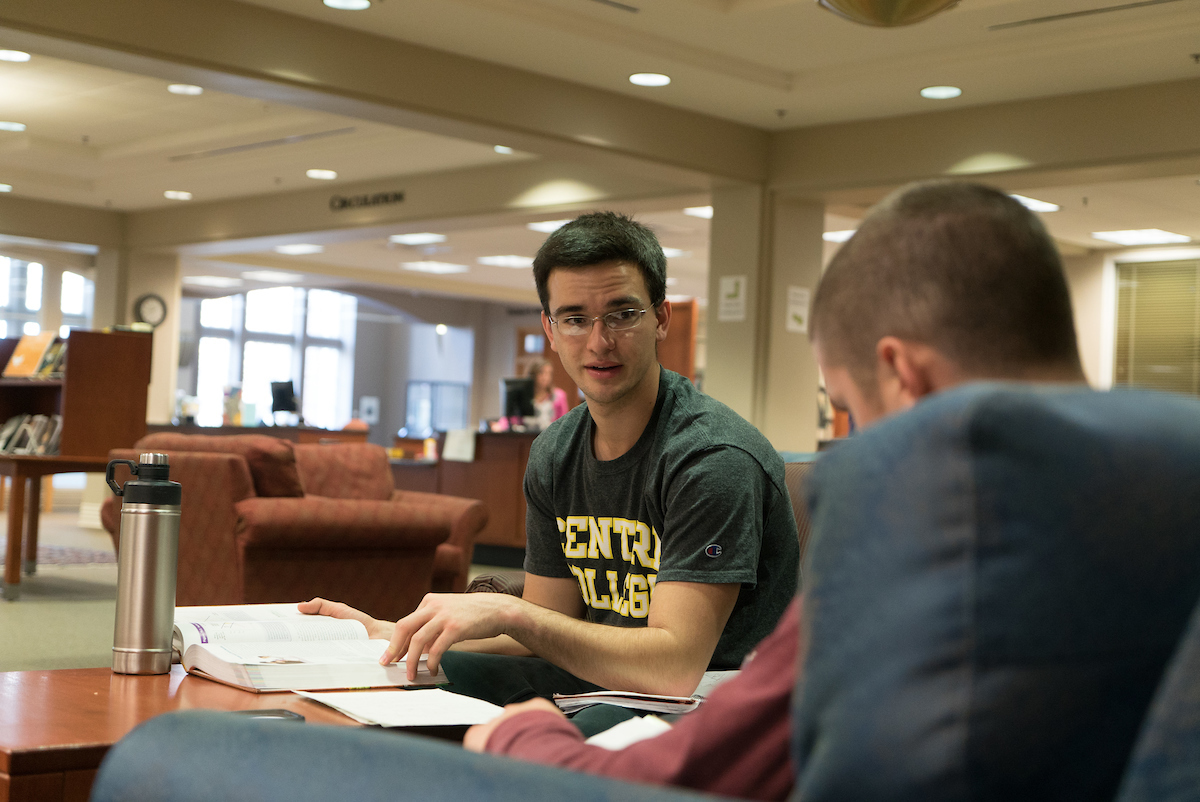 two male students study in Grace Doherty Library