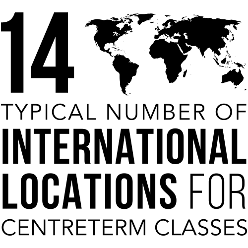 14 typical number of international locations for CentreTerm classes