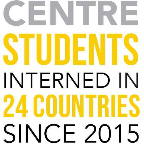 infographic for countries where Centre students interned
