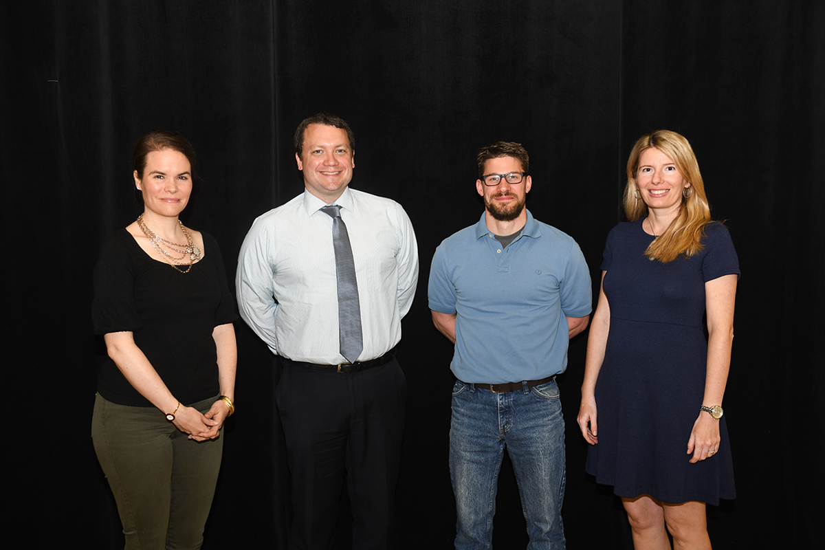 Centre Scholars: (from left) Five professors were named Centre Scholars: Allison Connolly, John Harney, Kelly O'Quin, and Iulia Sprinceana