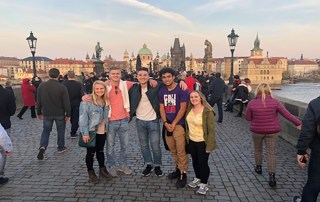 Bell and a group of Centre students on the Charles Bridge in Prague