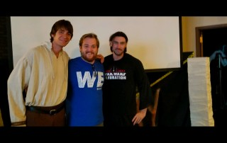 Portrait (from left) James Phelps, Zach Throne '16, and John Wells