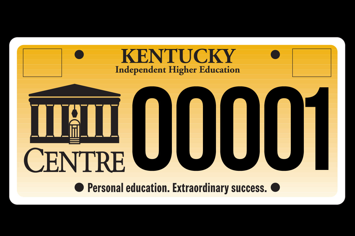 Centre College Kentucky license plate