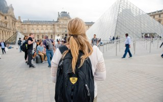 Centre students studying in Strasbourg, France enjoy a weekend trip to Paris with Professor Jeff Fieberg.