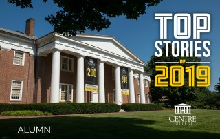 Infographic featuring Old Centre overlaid with the words Top Stories of 2019: Alumni