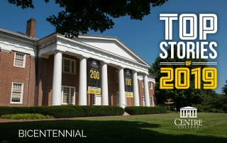 Infographic featuring Old Centre overlaid with the words Top Stories of 2019: Bicentennial
