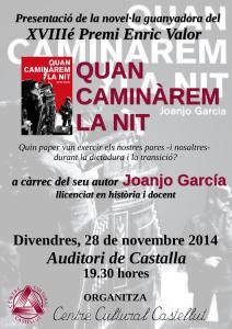 """Joanjo García presentarà """"Quan caminàrem la nit"""" a Castalla el pròxim 28 de novembre"""