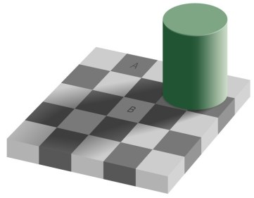 Optical illusion with grid