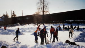 This vintage photo from the Plouffe Park Rink shows the ice labyrinth created by Doug Gabelmann in use a decade ago.