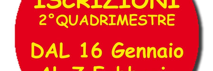 ISCRIZIONI 2°QUADRIMESTRE dal 16/01/2020