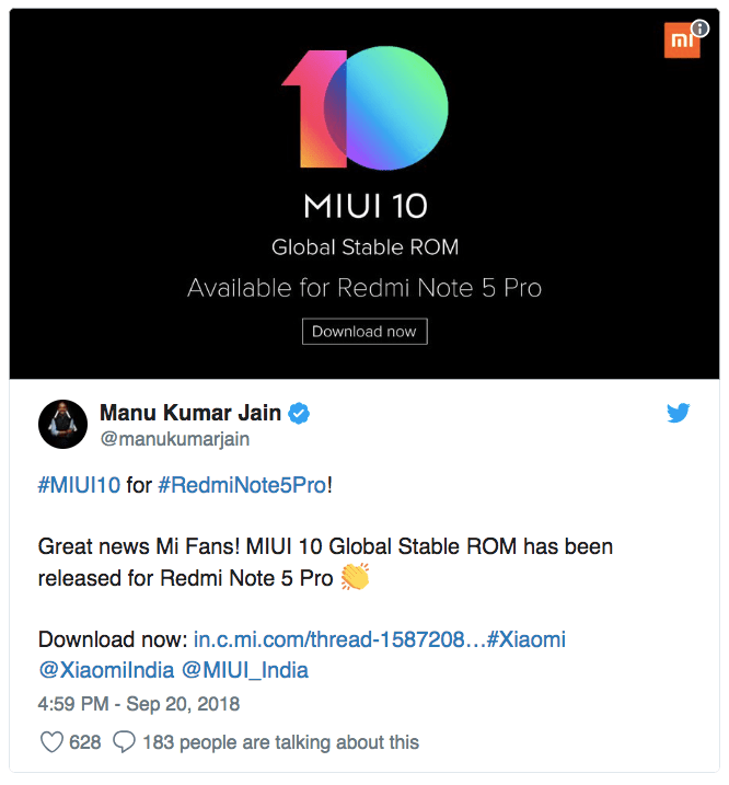 Xiaomi rolls out MIUI 10 Global Stable ROM software update for Redmi Note 5 Pro, Mi 6 002